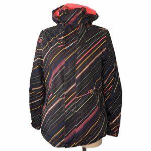 O'NEILL Ski/Snow Jacket Black Striped Medium